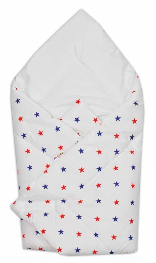 Novorozenecká zavinovačka Baby Nellys ®- granátovo/červené hvězdičky na bílém podkladu