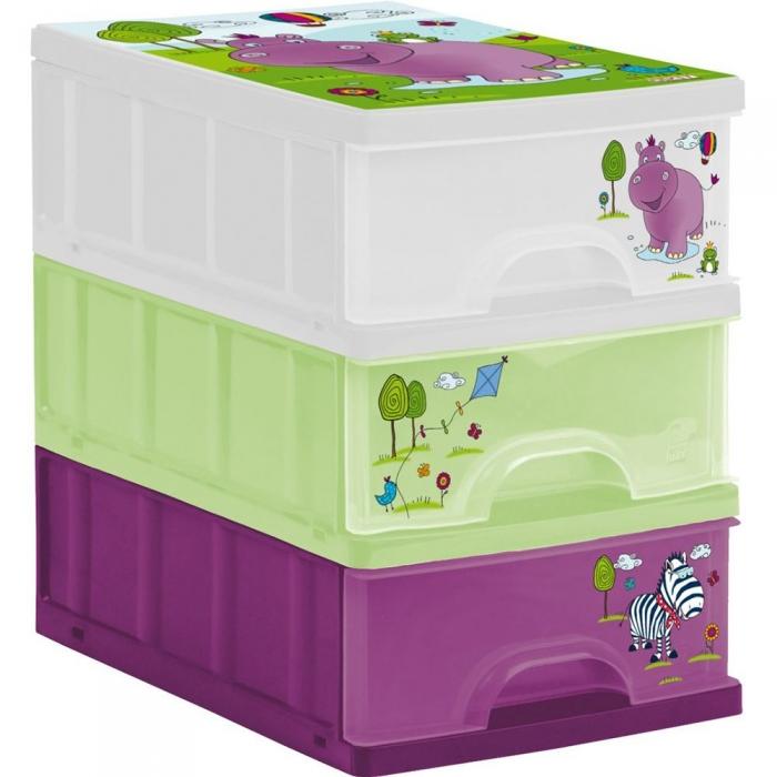 Boxy na hračky - sada 3 šuplíků Hippo