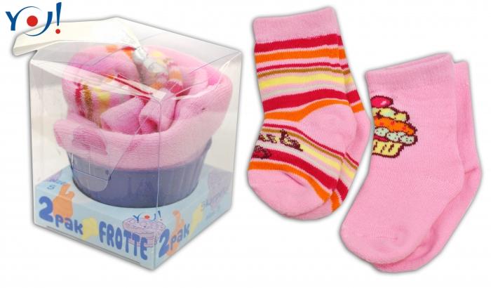 Dárkové balení froté ponožek YO! Muffin - růžová