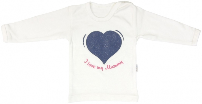 Bavlněné tričko Mamatti Srdíčko BORŮVKA - dlouhý rukáv