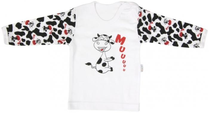 Bavlněné tričko Mamatti Kravička - dlouhý rukáv