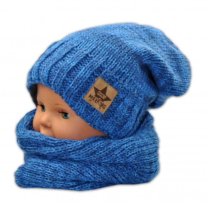 Podzimní/zimní čepice s komínkem - modrá melír