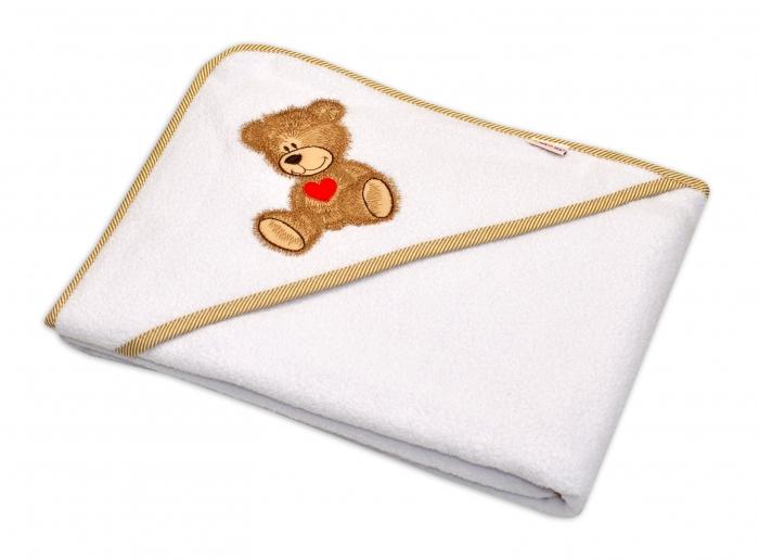 Froté osuška s kapucí Baby Nellys® 80x80cm Sweet TEDDY - bílá