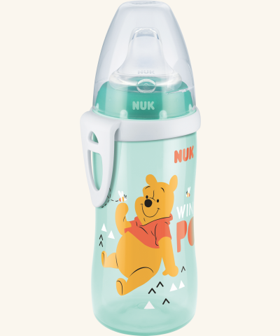 Lahvička NUK ACTIVE CUP 300 ml - Medvídek Pú - tyrkysová