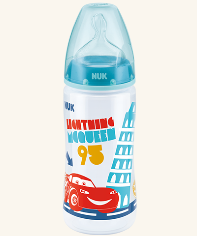 Lahvička NUK First Choice - Disney Cars 300 ml - tyrkysová