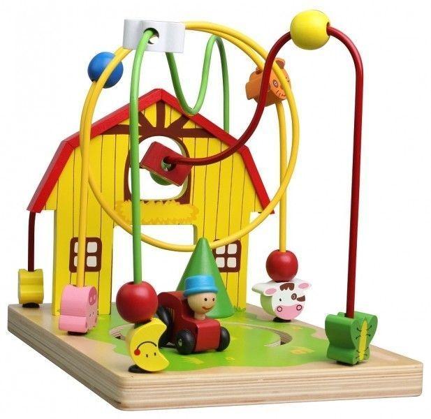 Edukační dřevěná hračka labyrint 25,5 cm - Farma