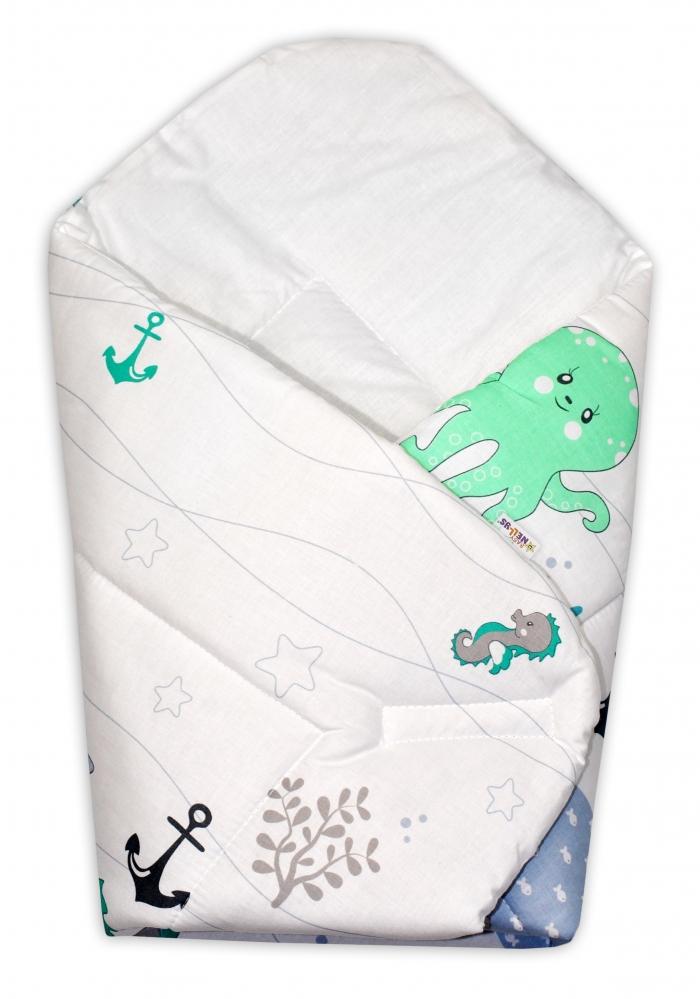 Novorozenecká zavinovačka Oceán, 75x75 cm - zelený