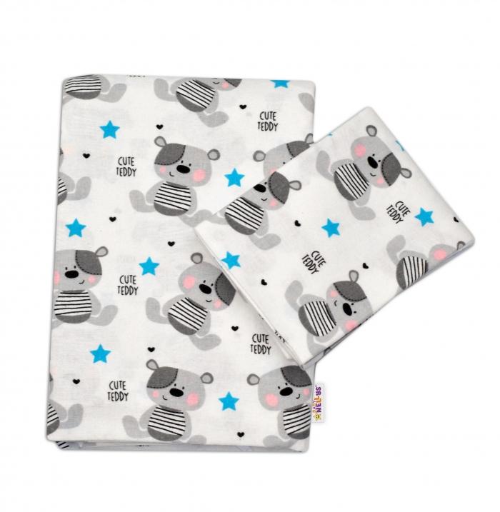 Flanelové povlečení Baby Nellys ® - Medvídek šedý v bílé CUTE TEDDY