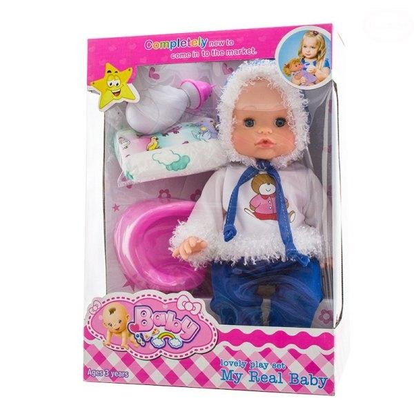 Panenka, miminko mluvící, čůrající a pijící - modrá/bílá