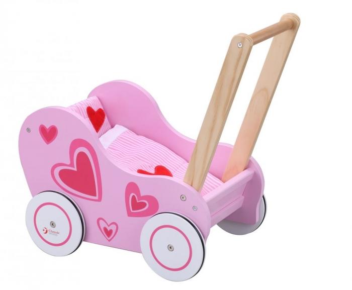 Dřevěný kočárek pro panenky - růžový - srdíčka