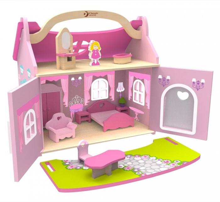 Dřevěný domeček snů pro panenky - růžový