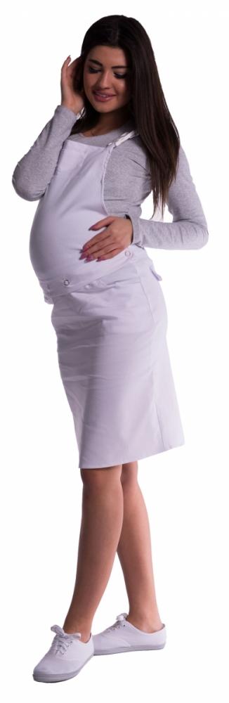 Těhotenské šaty/sukně s láclem - bílé - L