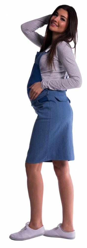 Těhotenské šaty/sukně s láclem - modré - L