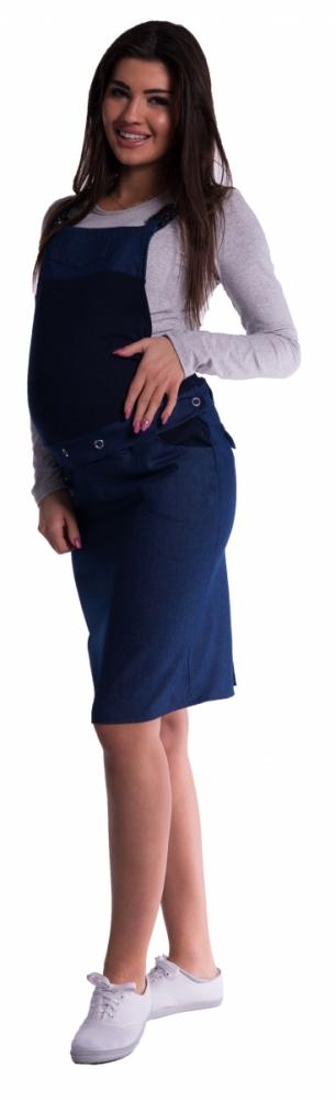 Těhotenské šaty/sukně s láclem - tm. modré - M
