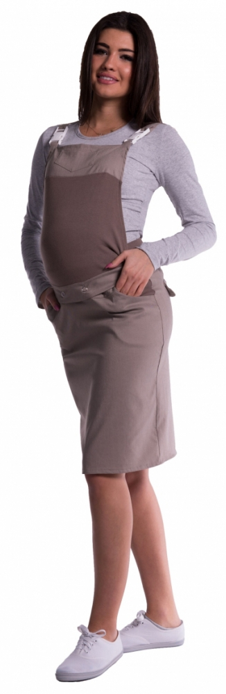 Těhotenské šaty/sukně s láclem - cappucino