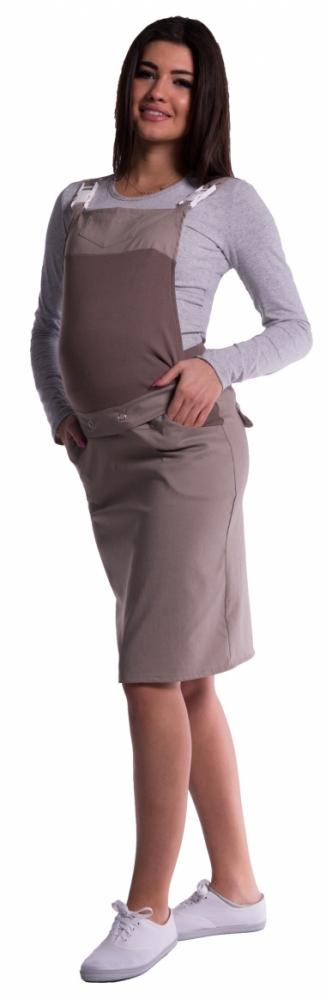 Těhotenské šaty/sukně s láclem - cappucino - XL