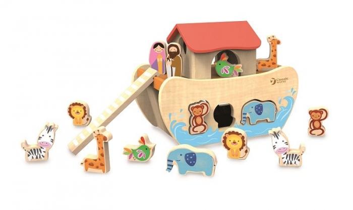 Dřevěná Noemova archa se zvířátky