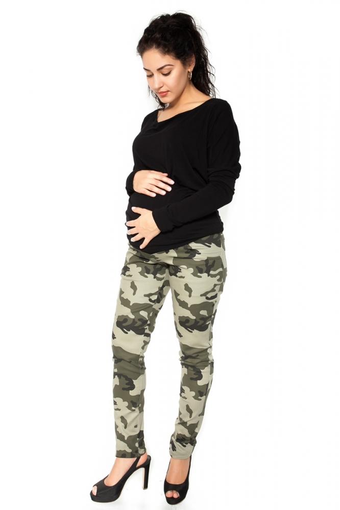 Těhotenské tepláky,kalhoty maskáčové - zelené - M