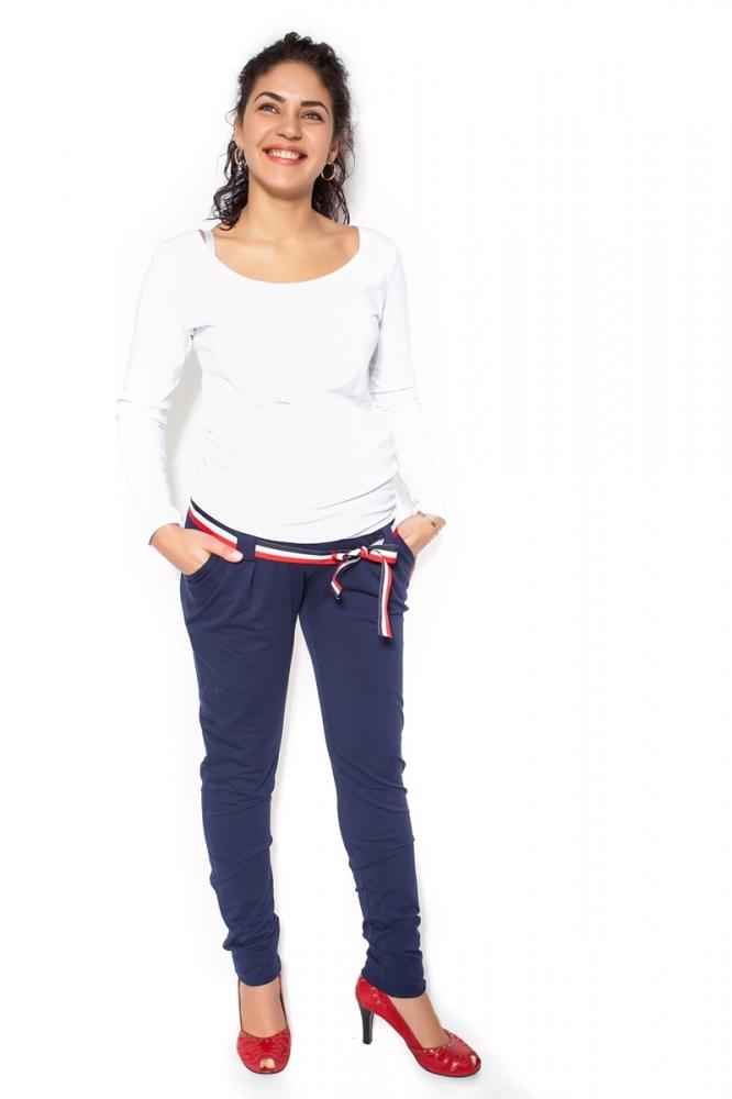Těhotenské tepláky,kalhoty MONY - tm. modré - S