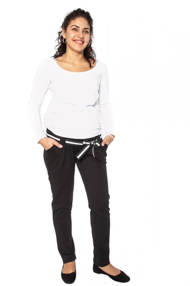 Těhotenské tepláky,kalhoty MONY - černé - L