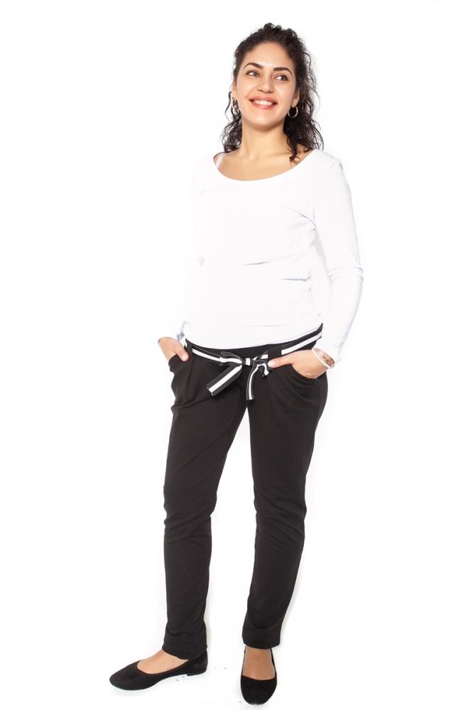 Těhotenské tepláky,kalhoty MONY - černé - XL