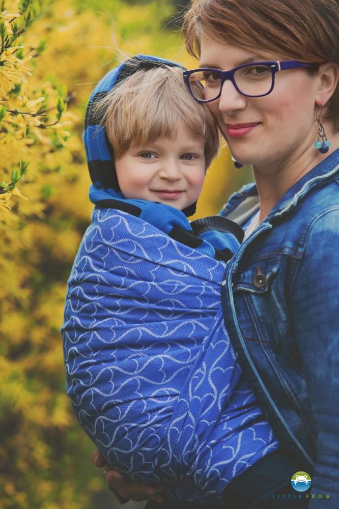 580f131b29e Little FROG Žakárový tkaný šátek na nošení dětí - Blue Hourglasses