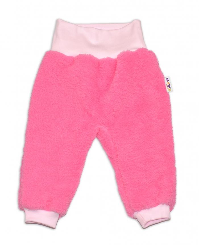 Chlupáčkové kalhoty, tepláčky Baby Nellys ® - růžové - vel. 86