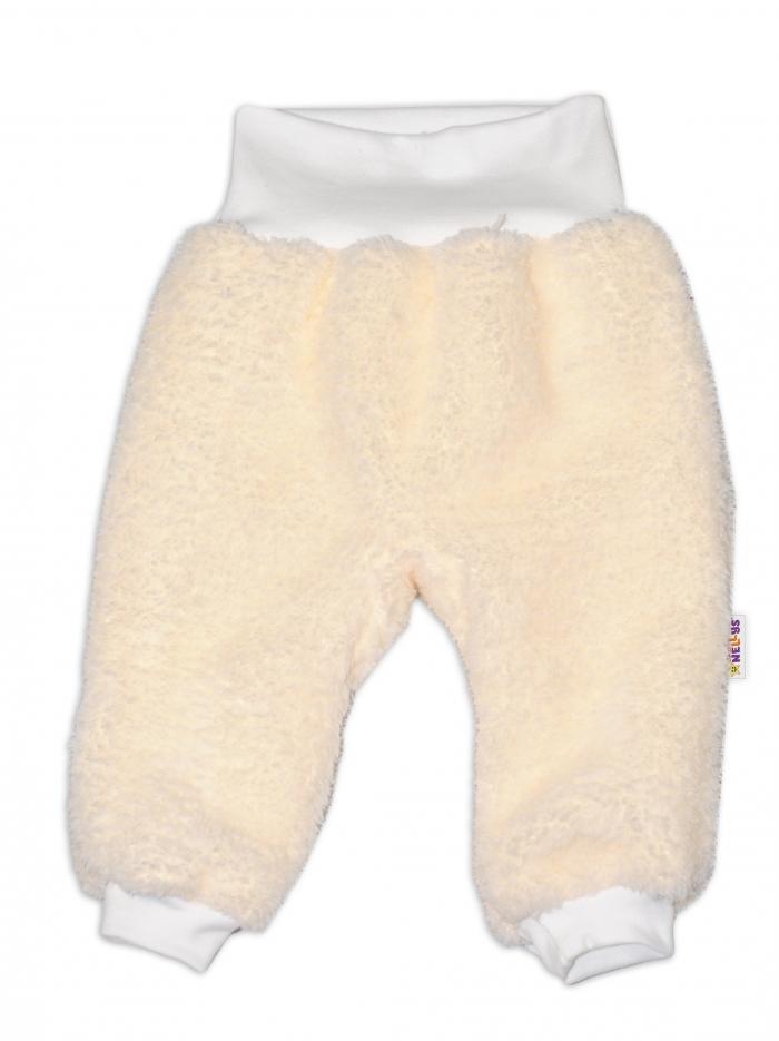 Chlupáčkové kalhoty, tepláčky Baby Nellys ® - smetanové - vel. 86