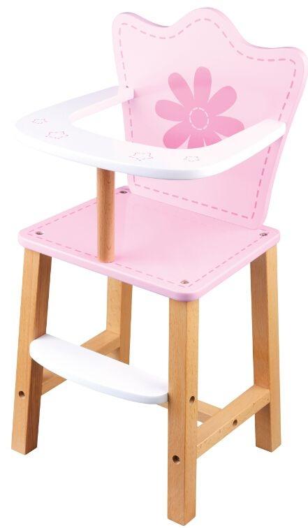 Dřevěná jídelní židlička pro panenky - Květinka - růžová