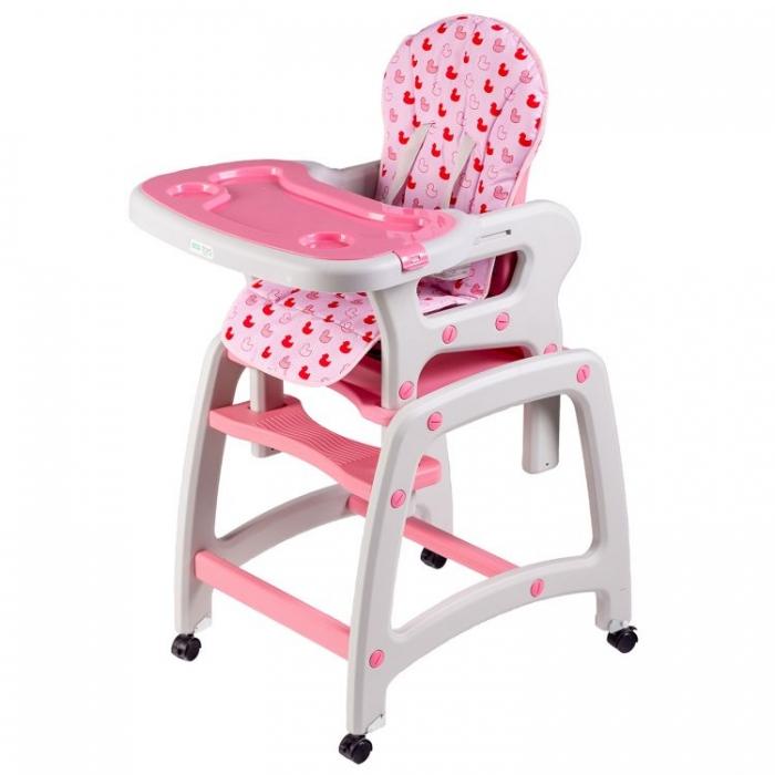 Jídelní stoleček, houpačka ECO TOYS 3v1 - růžový