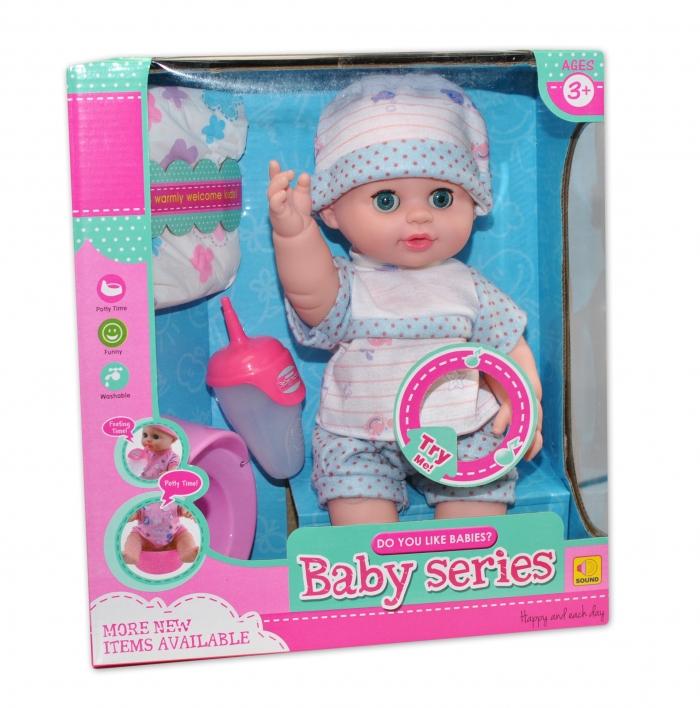Panenka, miminko čůrající, pijící, mluvící - modrá