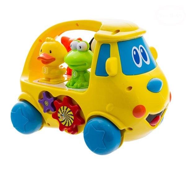 Edukační hračka Autobus se zvířátky - žlutá