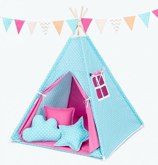 Stan pro děti teepee, týpí bez výbavy - hrášek tyrkys / tmavě růžový