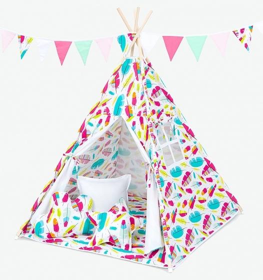 Stan pro děti teepee, týpí bez výbavy - pírka / bílý