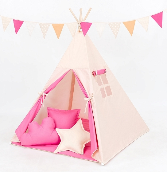 Stan pro děti teepee, týpí S VÝBAVOU - béžový / tmavě růžový