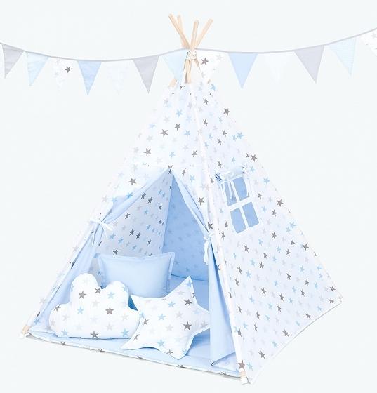 Stan pro děti teepee, týpí s výbavou - hvězdy šedé a modré/světle modrý