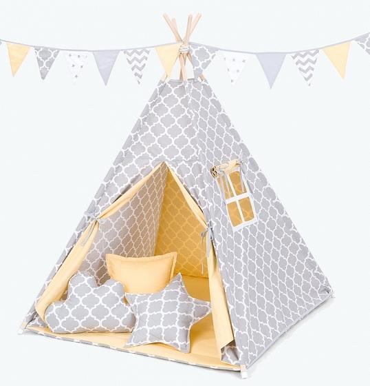 Stan pro děti teepee, týpí S VÝBAVOU - maroko šedé / žlutý