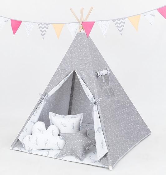 Stan pro děti teepee, týpí S VÝBAVOU - mini hvězdičky bílé na šedém / víly šedé