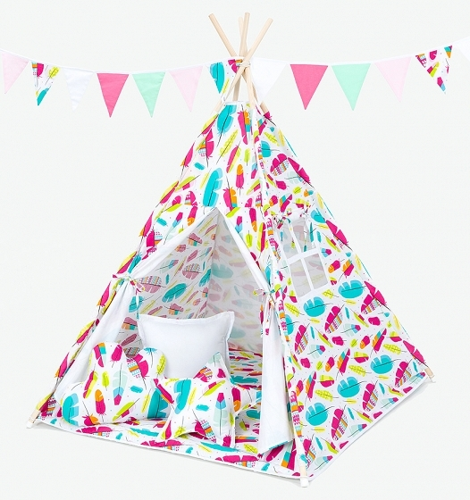 Stan pro děti teepee, týpí s Výbavou - pírka/bílý
