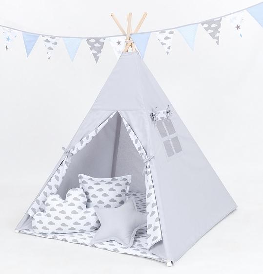 Stan pro děti teepee, týpí s výbavou - šedý/mráčky šedé na bílém