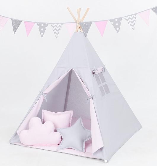 Stan pro děti teepee, týpí S VÝBAVOU - šedý / světle růžový