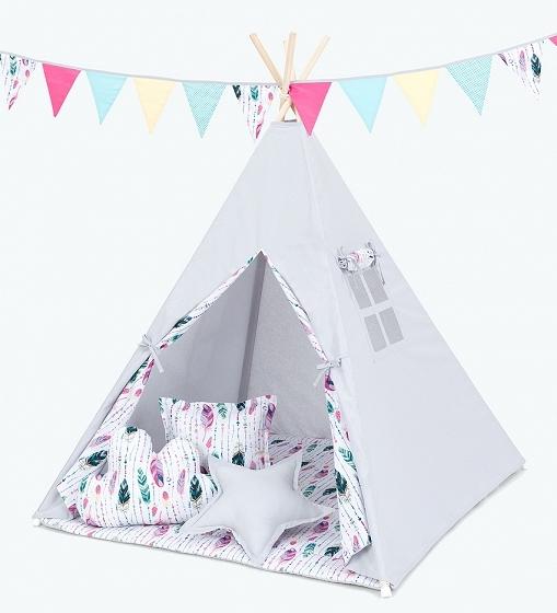 Stan pro děti teepee, týpí S VÝBAVOU - šedý / barevné pírko
