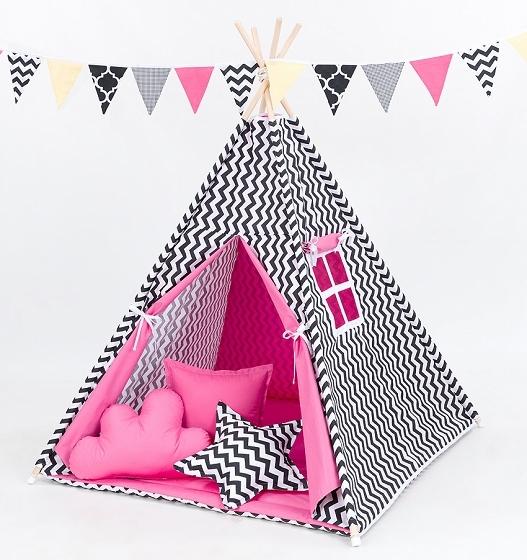 Stan pro děti teepee, týpí S VÝBAVOU - cikcak černý / tmavě růžový