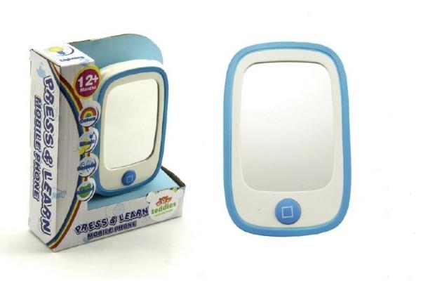 Telefon plast 11x7cm se zrcátkem na baterie se zvukem se světlem v krabičce