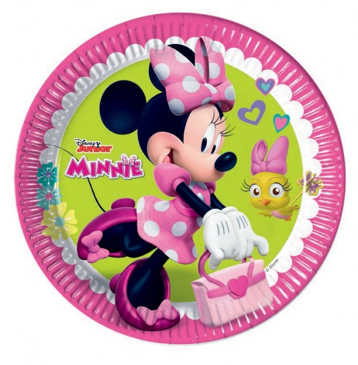 minnie mouse paper plates Disney - 36 piece party set - disney minnie mouse café with 8 paper plates, 20 serviettes and 8 cups + disney decoration / plates for children, nursery school, for children's birthday parties, decoration party girls princess children round disposable girls pink minnie mouse.