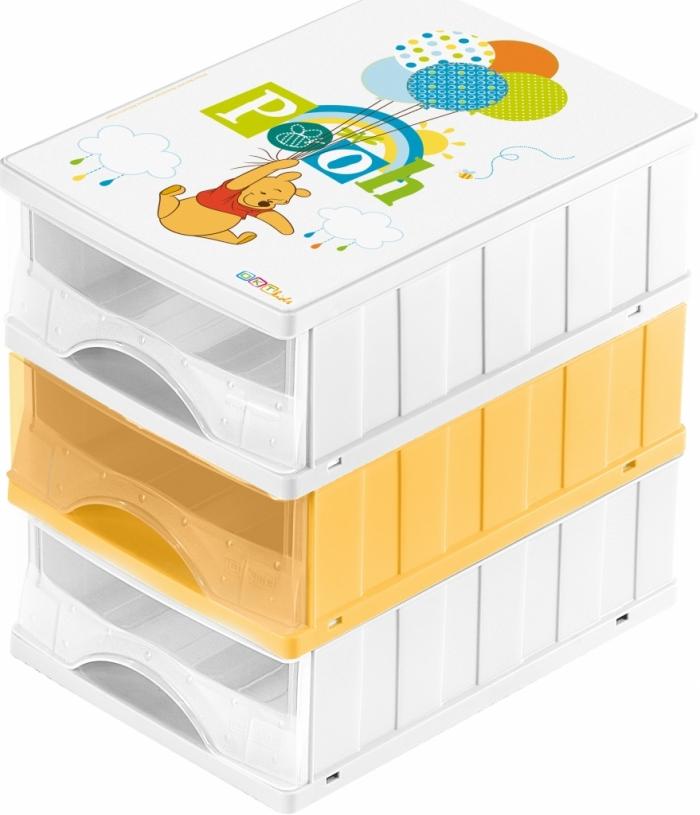 Boxy na hračky - sada 3 šuplíků MEDVÍDEK PÚ
