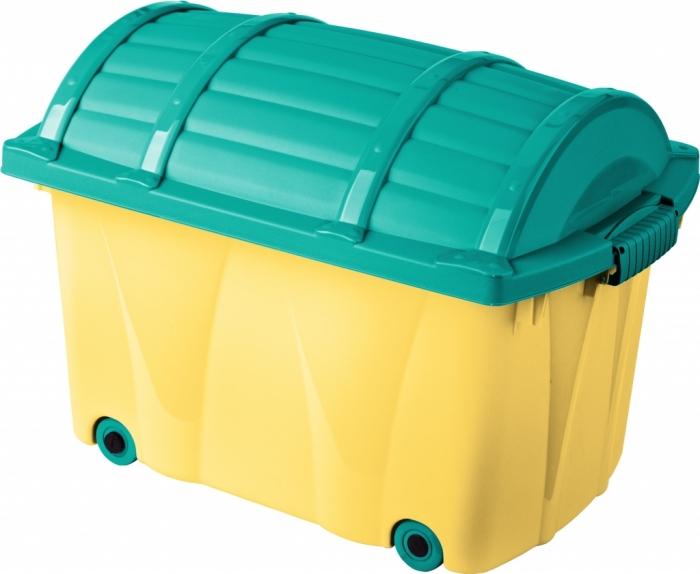 Plastový box na kolečkách - 42l - žlutý