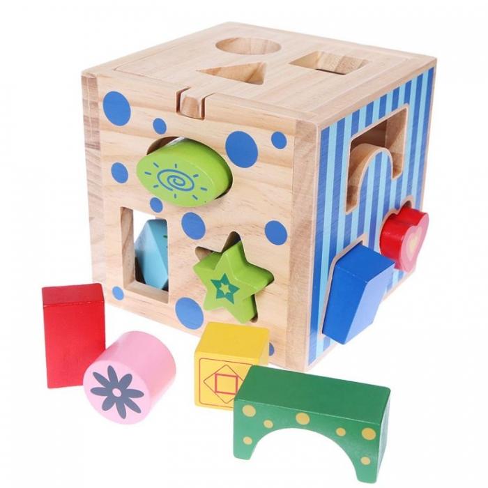 Dřevěná edukační kostka, vkládačka ECO TOYS