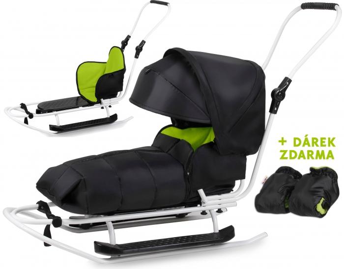 Sáňky s kompletním vybavením + rukávník zdarna - černý/zelený