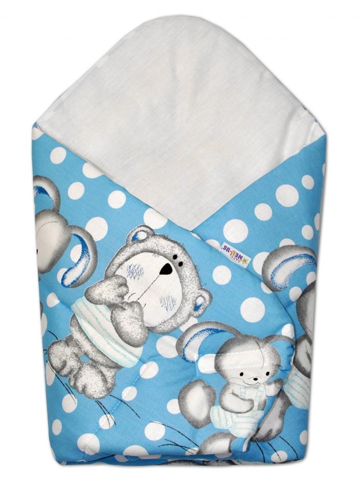 Novorozenecká zavinovačka Medvídek s králíčkem Bubble, 75x75 cm - modrá